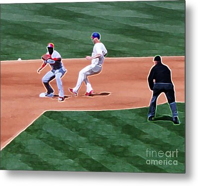 Safe At Second Base Metal Print by Terry Weaver