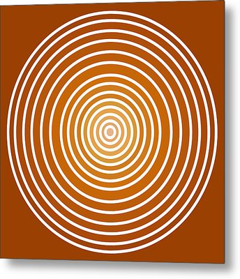 Saffron Colored Abstract Circles Metal Print by Frank Tschakert