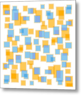 Saffron Yellow And Azure Blue Metal Print by Frank Tschakert