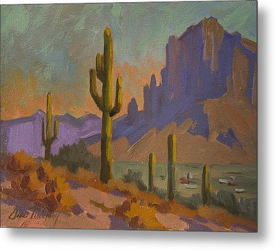 Saguaro Cactus And Apache Junction Metal Print by Diane McClary