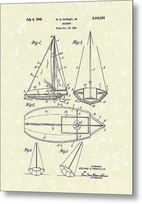 Sailboat 1948 Patent Art Metal Print by Prior Art Design