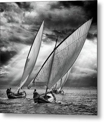 Sailboats And Light Metal Print by Angel Villalba