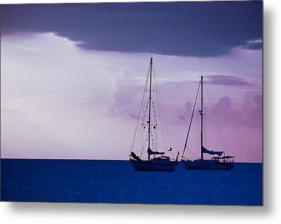 Sailboats At Sunset Metal Print by Don Schwartz