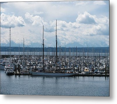 Sailboats In Seattle Metal Print by Steven Parker