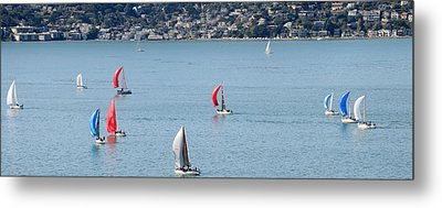 Sailboats On San Francisco Bay Metal Print by Panoramic Images