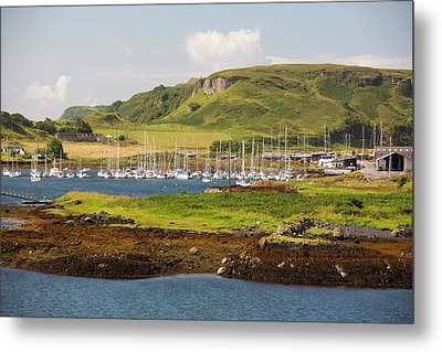 Sailing Boats Moored Off Kerrera Metal Print by Ashley Cooper