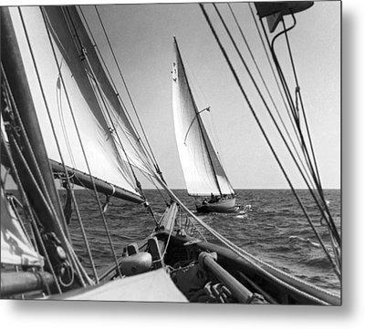 Sailing In Los Angeles Regatta Metal Print by Underwood Archives