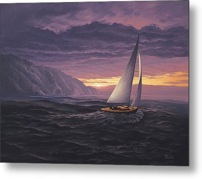 Sailing In Paradise - Big Sur Metal Print by Del Malonee