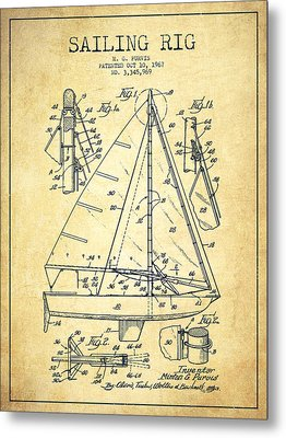 Sailing Rig Patent Drawing From 1967 - Vintage Metal Print by Aged Pixel