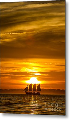 Sailing Yacht Schooner Pride Sunset Metal Print by Dustin K Ryan