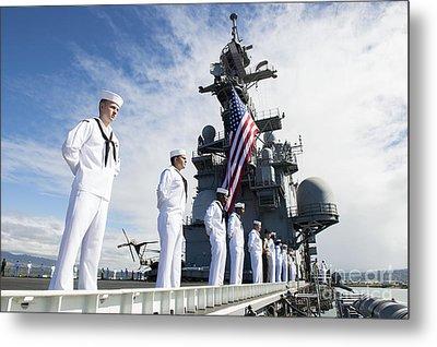 Sailors Man The Rails As Aboard Uss Metal Print by Stocktrek Images