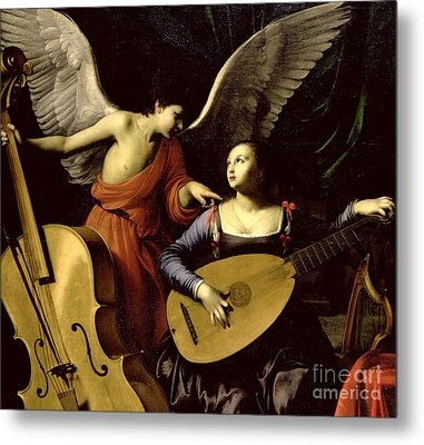 Saint Cecilia And The Angel Metal Print by Carlo Saraceni