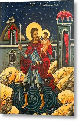 Saint Christopher And The Christ Child Romanian Byzantine Icon Handmade Painting Metal Print by Denise ClemencoIcons