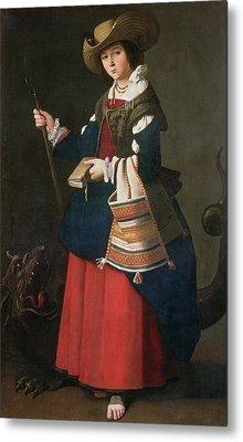 Saint Margaret Of Antioch, 1630-34 Oil On Canvas Metal Print by Francisco de Zurbaran