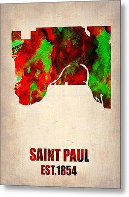 Saint Paul Watercolor Map Metal Print by Naxart Studio