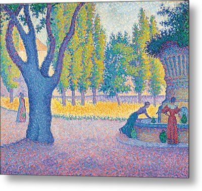 Saint-tropez Fontaine Des Lices Metal Print by Paul Signac