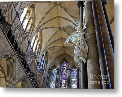 Salisbury Cathedral Vaulted Ceiling And Peter Rush Angel Metal Print by Terri Waters
