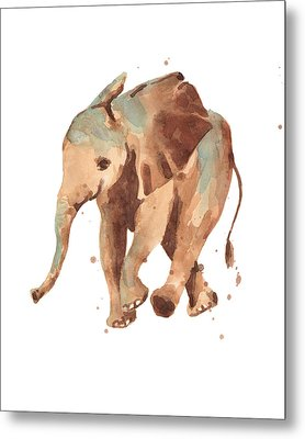 Sally Softly Elephant Metal Print by Alison Fennell