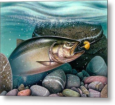 Salmon Stream Metal Print by Jon Q Wright