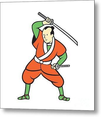 Samurai Warrior Wielding Katana Sword Cartoon Metal Print by Aloysius Patrimonio