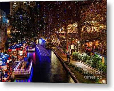 San Antonio Riverwalk During Christmas Metal Print by Silvio Ligutti