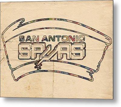 San Antonio Spurs Logo Vintage Metal Print by Florian Rodarte