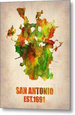 San Antonio Watercolor Map Metal Print by Naxart Studio