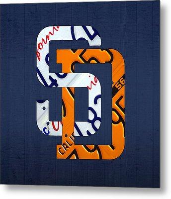 San Diego Padres Baseball Team Vintage Logo Recycled California License Plate Art Metal Print by Design Turnpike