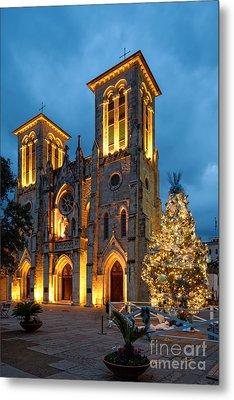 San Fernando Cathedral And Christmas Tree Main Plaza - San Antonio Texas Metal Print by Silvio Ligutti