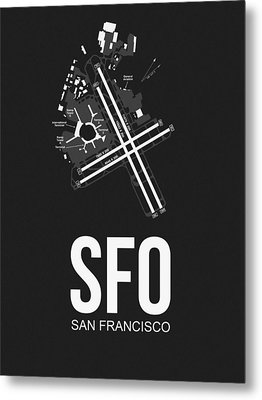 San Francisco Airport Poster 1 Metal Print by Naxart Studio