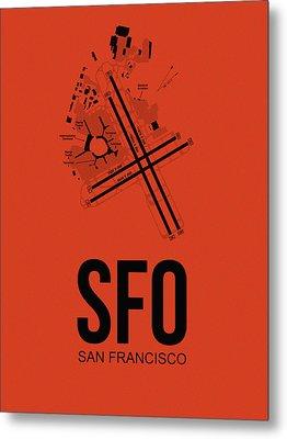 San Francisco Airport Poster 2 Metal Print by Naxart Studio