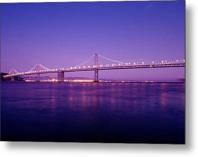 San Francisco Bay Bridge At Sunset Metal Print by Mandy Wiltse