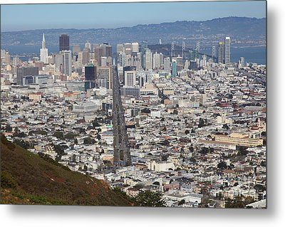 San Francisco California From Twin Peaks 5d28073 Metal Print by Wingsdomain Art and Photography