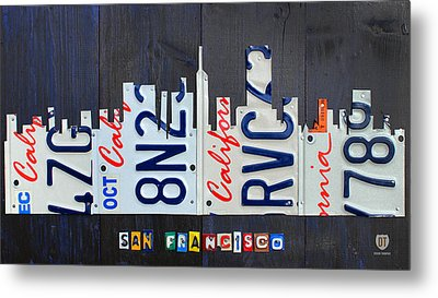 San Francisco California Skyline License Plate Art Metal Print by Design Turnpike