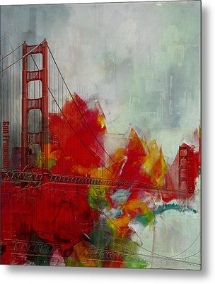 San Francisco City Collage Metal Print by Corporate Art Task Force