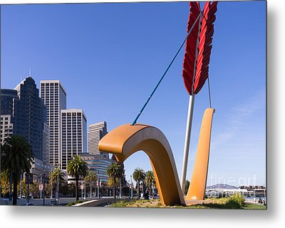 San Francisco Cupids Span Sculpture At Rincon Park On The Embarcadero Dsc1929 Metal Print by Wingsdomain Art and Photography