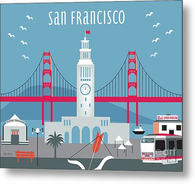 San Francisco Ferry Building Metal Print by Karen Young