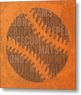San Francisco Giants Baseball Typography Famous Player Names On Canvas Metal Print by Design Turnpike