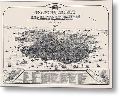 San Francisco Graphic Map 1875 Metal Print by Daniel Hagerman