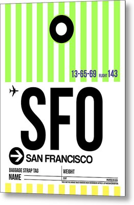 San Francisco Luggage Tag Poster 2 Metal Print by Naxart Studio
