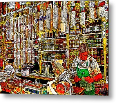 San Francisco North Beach Deli 20130505v1 Metal Print by Wingsdomain Art and Photography