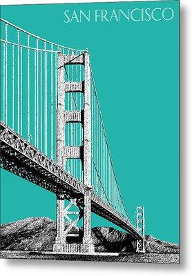 San Francisco Skyline Golden Gate Bridge 2 - Teal Metal Print by DB Artist