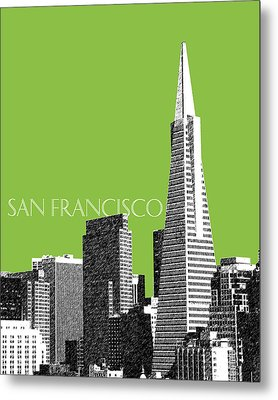 San Francisco Skyline Transamerica Pyramid Building - Olive Metal Print by DB Artist