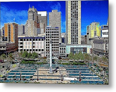 San Francisco Union Square 5d17938 Artwork Metal Print by Wingsdomain Art and Photography
