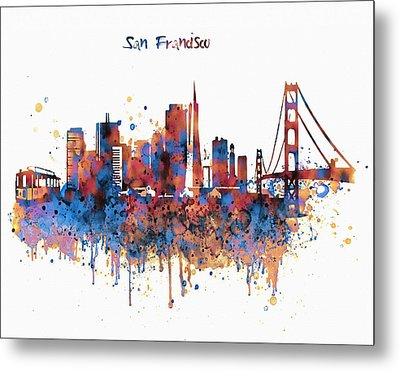 San Francisco Watercolor Skyline Metal Print by Marian Voicu