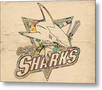 San Jose Sharks Vintage Poster Metal Print by Florian Rodarte