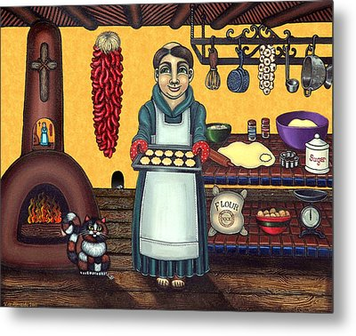 San Pascual Making Biscochitos Metal Print by Victoria De Almeida