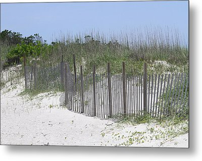 Sand Fence At Cape Lookout Metal Print by Cathy Lindsey
