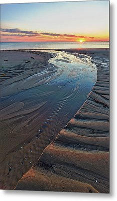 Sand Patterns At Sunset On Bound Brook Metal Print by Jerry and Marcy Monkman