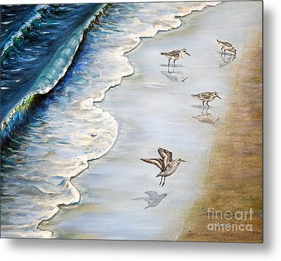 Sandpipers On The Beach Metal Print by Zina Stromberg